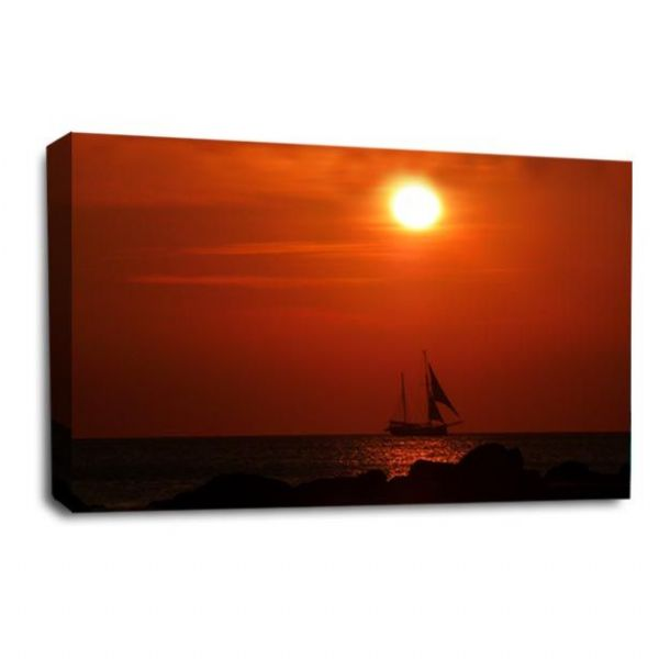 Sunset Seascape Wall Art Picture Orange Golden Sailing Boat Print